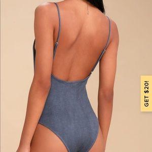 Lulu's Tops - Lulu's Awaken Washed Indigo Body Suit